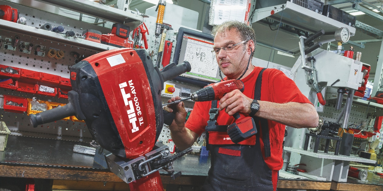 A Hilti tool being repaired