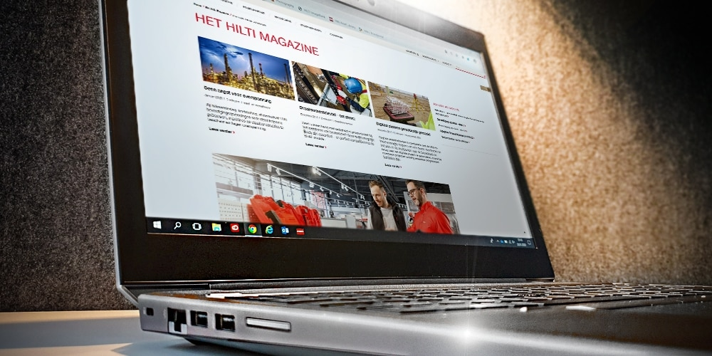 Open laptop met Hilti magazine